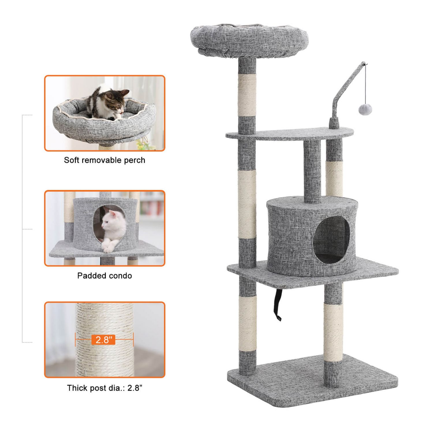 Cat Tree With Light Grey Color In