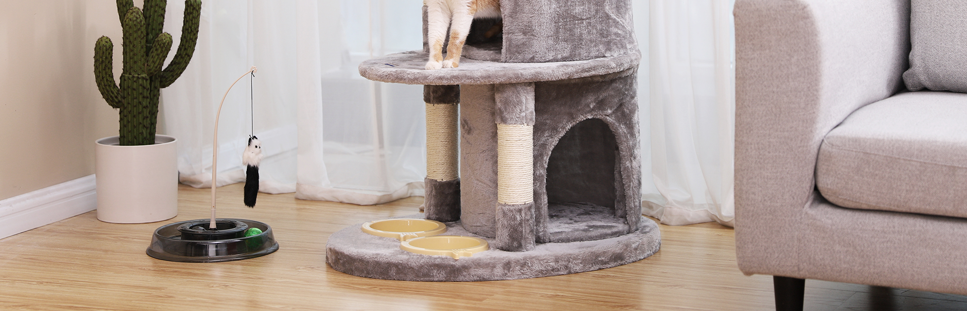 Light Grey Cat Tree with Two Bedrooms